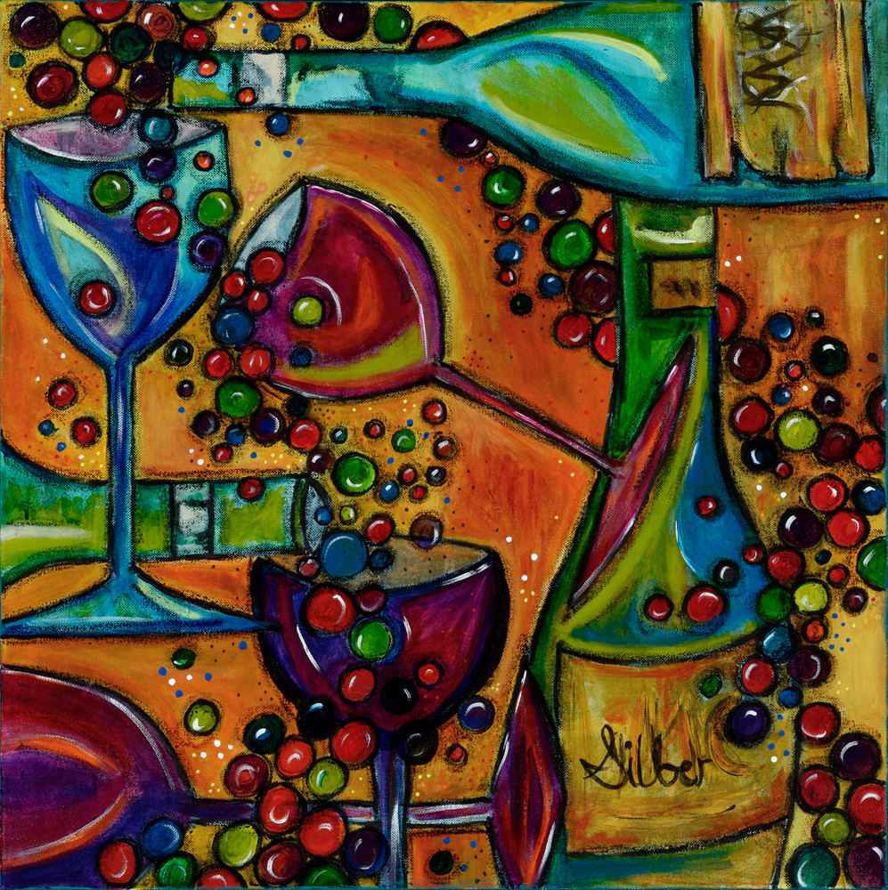 Wine bottle abstract for Painting and wine